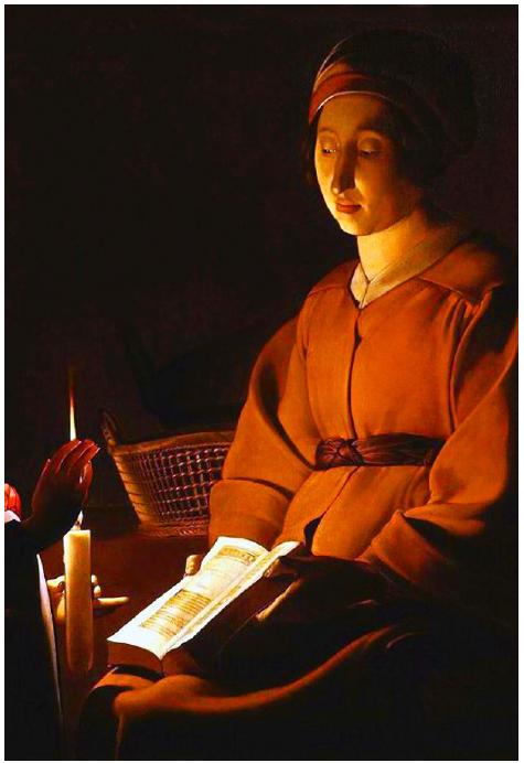 Georges de La Tour, L'Éducation de la Vierge, détail, vers 1650, musée du Louvre, Paris.